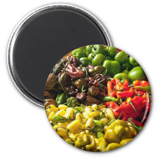 Harvest of Chilies 6 Cm Round Magnet