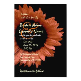 Harvest Orange Sunflower Wedding Ver 007 Card