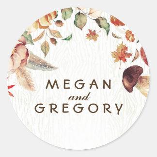 Harvest Rustic Fall Wedding Round Sticker