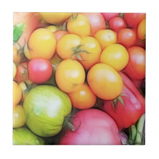 Harvest Time - Tomatoes! Small Square Tile
