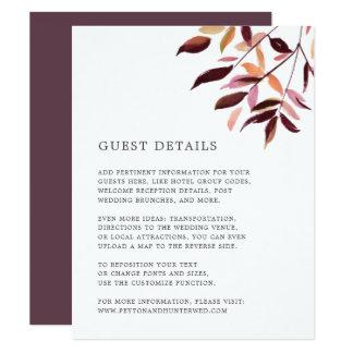 Harvest Wedding Guest Details Card