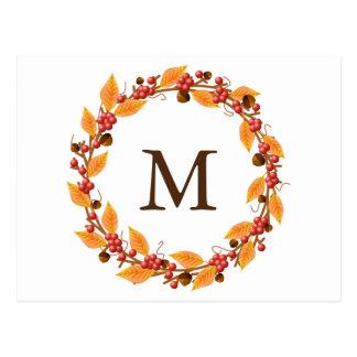 Harvest Wreath Monogram Custom Postcard