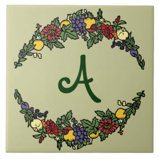 Harvest Wreath Monogram Tile