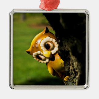 Harvey the Owl II Silver-Colored Square Decoration