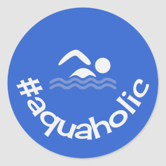 Hashtag aquaholic fun slogan swimming round sticker