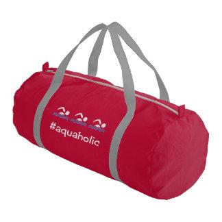Hashtag aquaholic slogan swimming gym bag
