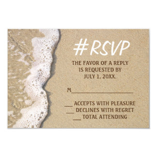 Hashtag Beach Wedding RSVP Card