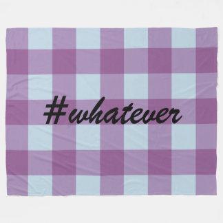 Hashtag Blue and Purple Buffalo Plaid Fleece Blanket