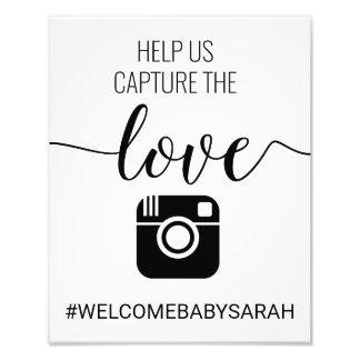 Hashtag Custom  Baby Shower Sign Photo Print