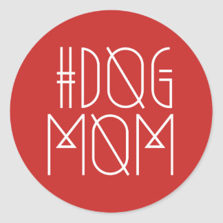 Hashtag Dog Mom Red & White Trendy Sticker