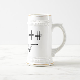 Hashtag Dude Cartoon Face with Hashtag Eyes Funny Beer Steins