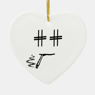 Hashtag Dude Cartoon Face with Hashtag Eyes Funny Ceramic Heart Decoration