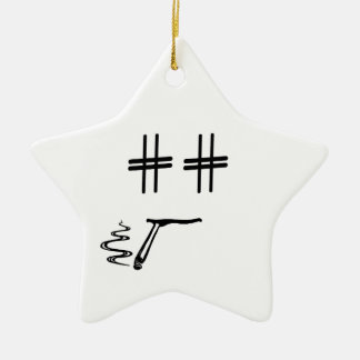 Hashtag Dude Cartoon Face with Hashtag Eyes Funny Ceramic Star Decoration