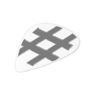 #HASHTAG - Hash Tag Symbol White Delrin Guitar Pick