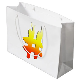 #HASHTAG - Hash Tag Symbol on Fire Large Gift Bag