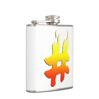 #HASHTAG - Hash Tag Symbol on Fire Hip Flask