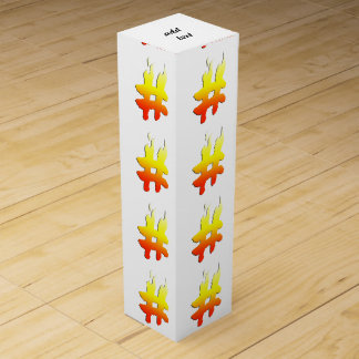 #HASHTAG - Hash Tag Symbol on Fire Wine Gift Box