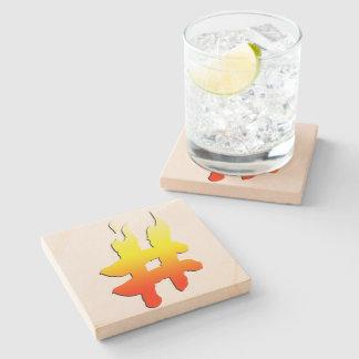 #HASHTAG - Hash Tag Symbol on Fire Stone Beverage Coaster