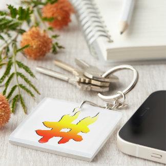 #HASHTAG - Hash Tag Symbol on Fire Acrylic Keychains
