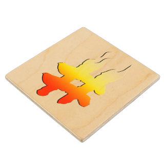 #HASHTAG - Hash Tag Symbol on Fire Maple Wood Coaster
