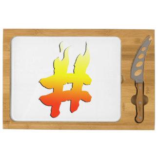 #HASHTAG - Hash Tag Symbol on Fire Rectangular Cheeseboard