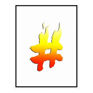 #HASHTAG - Hash Tag Symbol on Fire Postcard