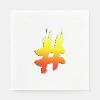 #HASHTAG - Hash Tag Symbol on Fire Standard Luncheon Napkin