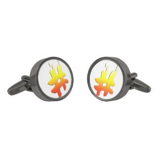 #HASHTAG - Hash Tag Symbol on Fire Cufflinks