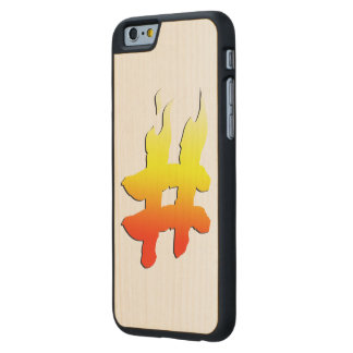 #HASHTAG - Hash Tag Symbol on Fire Carved® Maple iPhone 6 Case