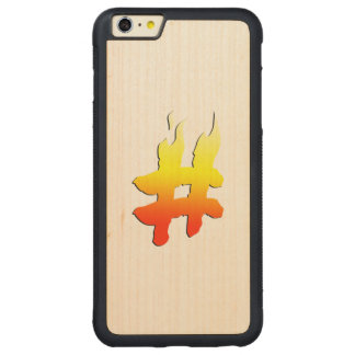 #HASHTAG - Hash Tag Symbol on Fire Carved® Maple iPhone 6 Plus Bumper Case