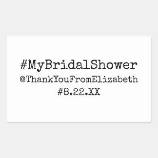 Hashtag #My Bridal Shower Rectangular Sticker