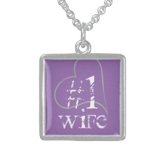 Hashtag No 1 Wife, Purple Matching Sterling Silver Necklace