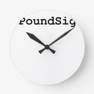 Hashtag Pound Sign Round Clock