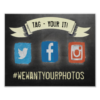 Hashtag Social Media Chalk Blackboard Poster