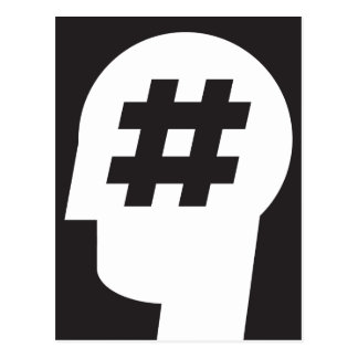 hashtag stuck in a head postcard