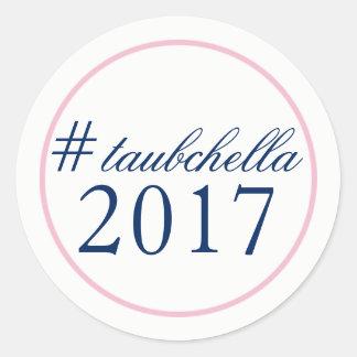 Hashtag Wedding Favor Sticker Pink/Navy