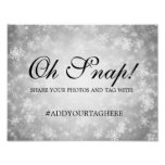 Hashtag Wedding Sign Silver Winter Wonderland
