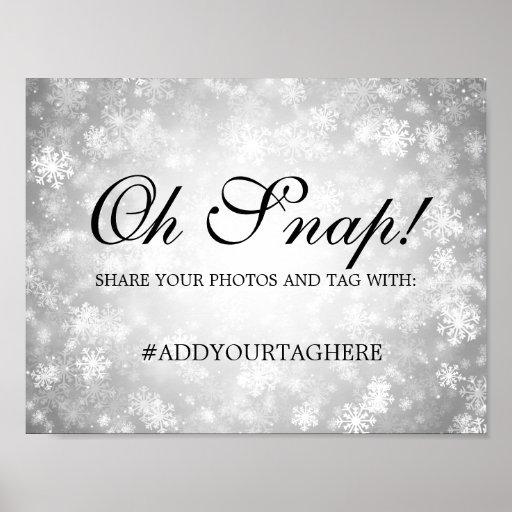 Hashtag Wedding Sign Silver Winter Wonderland