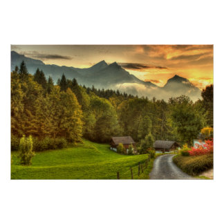 Hasliberg Switzerland sunset and Swiss mountains Posters