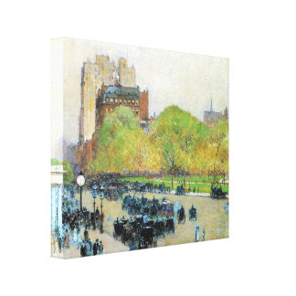 Hassam - Spring morning in the heart of the city Gallery Wrapped Canvas
