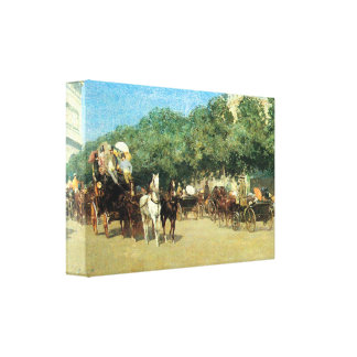 Hassam - The flower girls and the milk vendor Gallery Wrapped Canvas