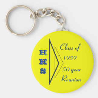 Hastings class of 1959 50th reunion basic round button key ring