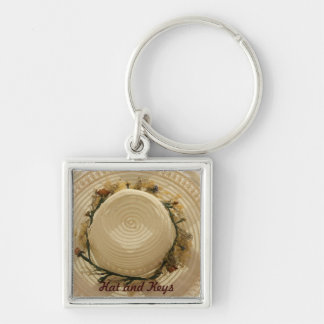 Hat and Keys Silver-Colored Square Key Ring