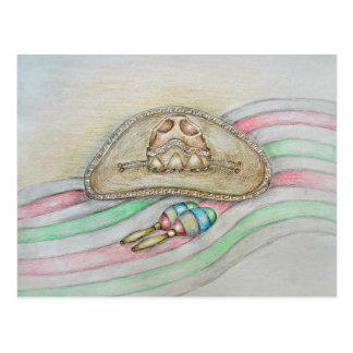 Hat and Maracas illustration Postcard