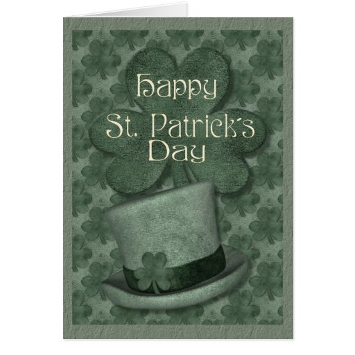 Hat and Shamrock Greeting Cards