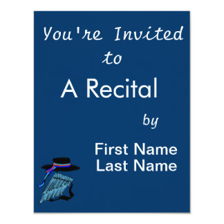 "hat blue pan flute ribbon music design.png 4.25"" x 5.5"" invitation card"