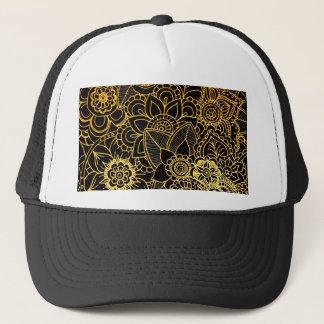 Hat Floral Doodle Gold G523