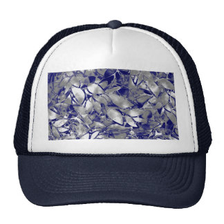 Hat Grunge Art Silver Floral Abstract