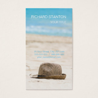 Hat on the beach business card