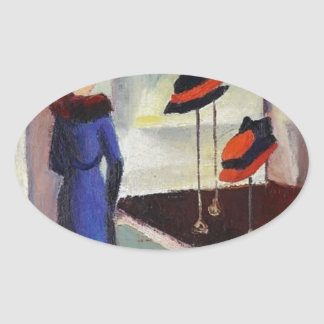 Hat Shop - August Macke Oval Sticker